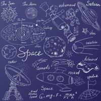 space sketch blue back vector
