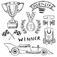 Sport auto items doodles elements. Hand drawn set with Flag icon. Checkered or racing flags first place prize cup. medal and rasing car, race vector illustration. Drawing doodle collection isolated on white
