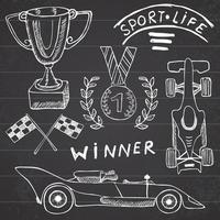 Sport auto items doodles elements. Hand drawn set with Flag icon. Checkered or racing flags first place prize cup. medal, rasing car, race vector illustration. Drawing doodle collection on chalkboard