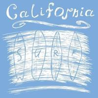 surf california garabato blanco sobre azul vector