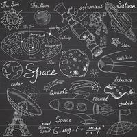 space sketch on chalkboard vector