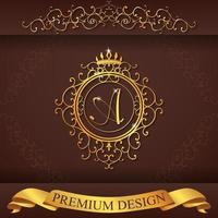 alfabeto heráldico oro premium diseño a vector