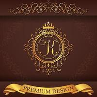alfabeto heráldico oro premium diseño k vector