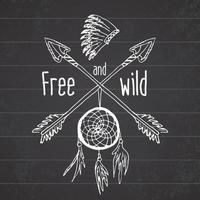 atrapasueños y flechas cruzadas, leyenda tribal en estilo indio con tocado tradicional. atrapasueños con plumas de pájaro y abalorios. vector ilustración vintage, letras libres y salvajes.