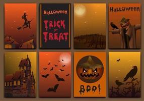 tarjetas de halloween diseño de banners vector con calabaza, bruja, murciélagos, espantapájaros y casa embrujada.