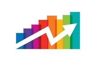 Multicolor Bar with Rising Up Arrow vector