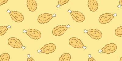 Chicken Fried Crispy Fried Chicken Seamless Pattern vector