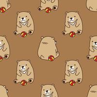 oso oso polar jugar pelota de patrones sin fisuras vector