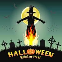 halloween burning witch in a night graveyard vector