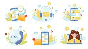Customer support service concept set vector