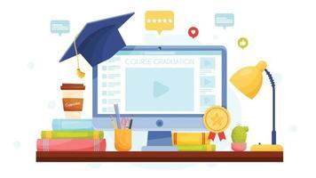 Online graduation concept vector