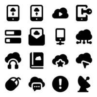 elementos multimedia en la nube vector
