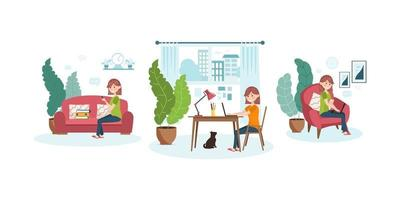 Work from home. Set of design concepts. Freelancer woman sitting in the living room on the couch with a mobile phone, laptop, work folders. Vector illustration