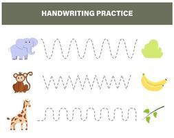 práctica de escritura a mano. animales de safari. elefante, mono, jirafa vector