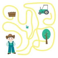 Labyrinth.  Maze game with farmer and tractor vector