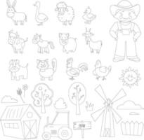 Coloring page. Farm animals set. Cartoon style
