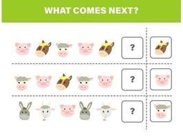 What comes next. Farm animals kid game vector
