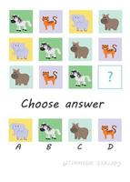 elegir respuesta. animales de safari. juego de niños vector