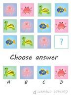 Choose answer. Marine mammals. Kids game vector