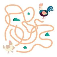 Labyrinth. Maze game with Farm birds. Rooster and hen vector