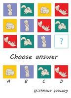 Choose answer. Cute rabbit. Kid game vector