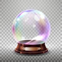 Christmas snowglobe. Crystal glass empty ball. Magic xmas holiday snow ball vector mockup isolated. Illustration of dome souvenir transparency, sphere ball transparent glossy. Vector illustration.