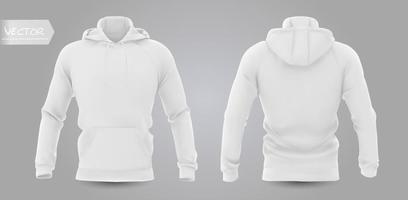 maqueta de sudadera con capucha de los hombres blancos en la vista frontal, posterior y lateral, aislado en un fondo gris. 3d ilustración vectorial realista, patrón de sudadera formal o informal. vector