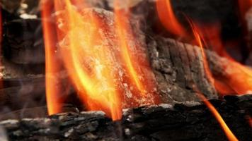 Wooden Fire Flames and Ashes video