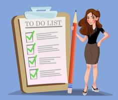 Happy woman holding pencil at giant schedule checklist with tick marks. Business organization and achievements of goals vector concept. Businesswoman with paper check list for plan illustration