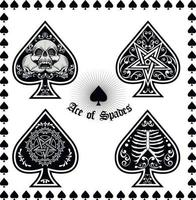 ace of spades with skull-sets vector