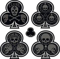 ace of clubs with skull-sets vector