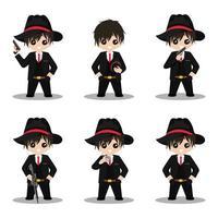 Cute Mafia cartoon character mascot vector design illustration