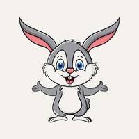 Ilustración de diseño de vector de mascota de personaje de dibujos animados lindo conejo