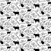 Hand drawn Meat products seamless pattern. Vintage design template, banner. Vector. vector