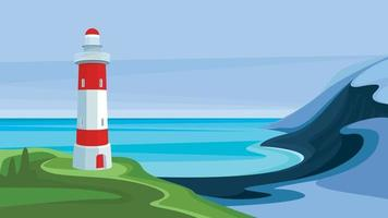 Seascape with lighthouse. vector