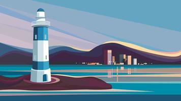 Lighthouse on background of city. vector