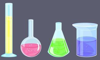 Set of different flasks. vector