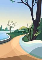 Spring park by the lake. Nature scenery in vertical orientation. vector