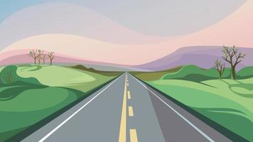Spring road stretching into the horizon. vector