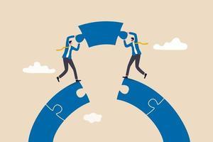 business connection concept, businessmen working team building connect jigsaw puzzle bridge vector