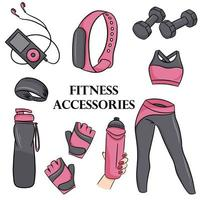Vector set of fitness accessories in cartoon style. Vector illustration isolated on a white background.