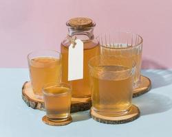 Fermented tea, kombucha arrangement in glasses photo