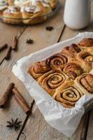 Cinnamon rolls in tray photo