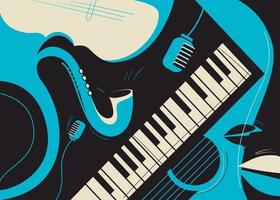 Banner template with saxophone and piano. vector