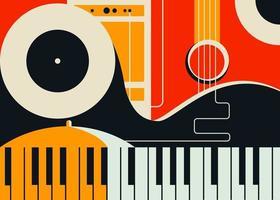 plantilla de banner con instrumentos musicales abstractos. vector
