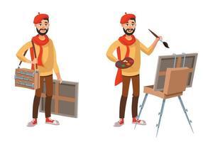 artista en diferentes poses. vector