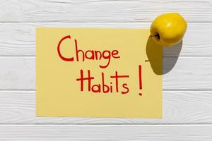 Change habits message with apple photo