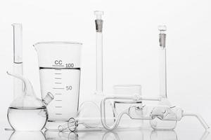 Chemicals composition lab with white background photo