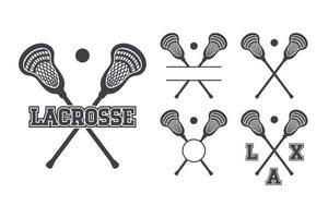 conjunto de iconos de símbolo de palos de lacrosse vector