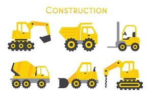 Vector Automobile Building Construction Machinery Toys for boys Isolated on background.